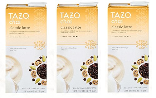 Tazo Chai Tea Latte Concentrate (32 oz, 1 quart) - Pack of 3