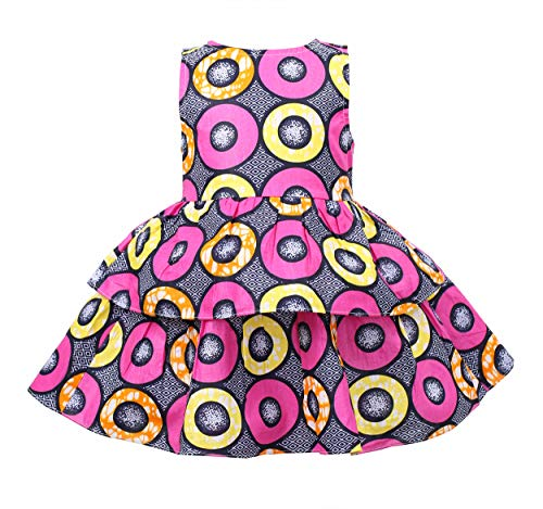 Girl's African Print Dress,Baby Girl Party Dress Ankara Special Occasion Dress, Wax Print Flower Girl Gown (Color A, -