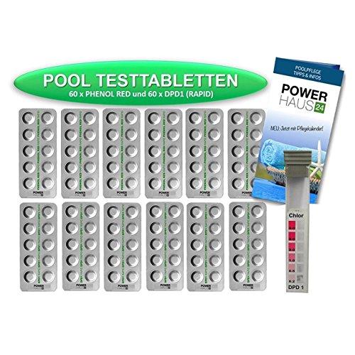 POWERHAUS24 - 120 Testtabletten 60 x pH-Wert Phenol Red und 60 x DPD1 Chlor - inkl. Messkammer