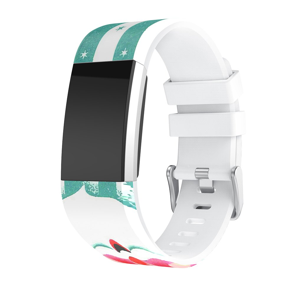 For Fitbit Charge 2 Watch Bands Silicone Replacement Holiday Printing Pattern Straps Silica gel Wristband For Fitbit Charge 2 (Santa Claus)