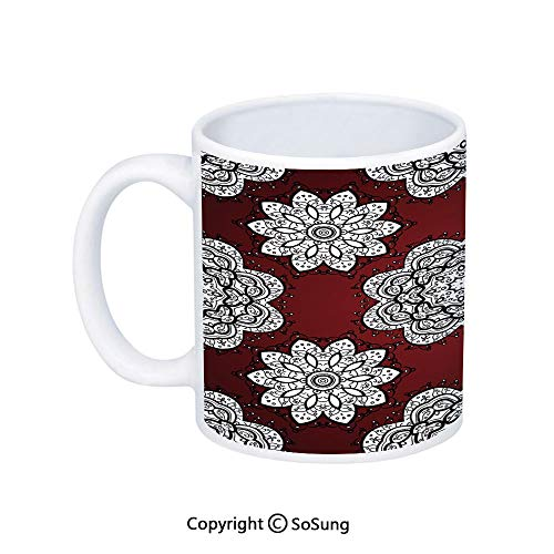 Maroon Coffee Mug,White Doodle Style Round Mandala Flowers Lacy Victorian Contours Romantic Decorative,Printed Ceramic Coffee Cup Water Tea Drinks Cup,Maroon Black White -