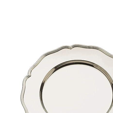 Broggi plato presentación con decoración Barocco alpaca plateada
