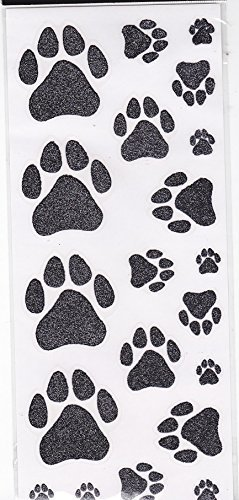 Glitter DOG PAW Print Stickers Sheet