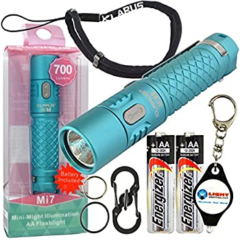 Klarus Mi7 Keychain LED Flashlight 700 Lumens with 2 Extra Energizer AA Batteries and LightJunction Keychain Light (Blue)