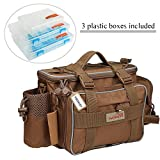 YOGAYET Fishing Tackle Bag Multifunctional Lure Waist Pack Waterproof Soft Sided Waist Shoulder Carry Storage with 3 Plastic Boxes (Khaki)