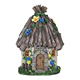 Exhart Twig Roof Fairy House Garden Statue, Fairy Gardening, Resin, Solar Powered, 9'' L x 9'' W x 15'' H
