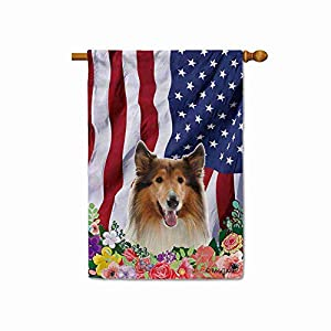 BAGEYOU American Flag with My Love Dog Rough Collie 4th of July Patriotic Decoraive House Flag for Outside Colorful Flowers Summer Home Decor Banner 28x40 Inch Printed Double Sided 1