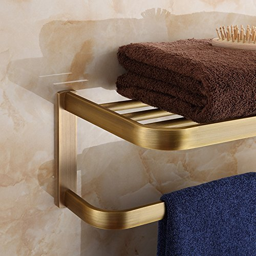 HOMEE European Style Copper Towel Rack Shelving Bathroom Towel Bar by HOMEE
