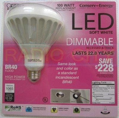 Feit Electric Conserv-Energy Dimmable BR40 LED 17 Watt Flood Light Bulb - 100 Watt Equivalent Replacement