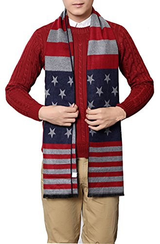 USA Flag Men's Winter Warm Wool Knitted Scarf -