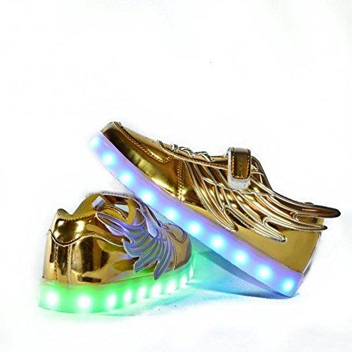 Envio 24 Horas Usay like Zapatillas LED con 7 Colores Luces Carga USB Dorado Ninos Niñas