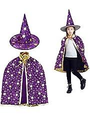 MUCHEN SHOP Toveraarskostuum voor kinderen, Halloweenkostuums, tovenaarsmantel met hoed, heksenmantel ster, cape, toverhoed voor kleine kinderen, jongens en meisjes, cosplay