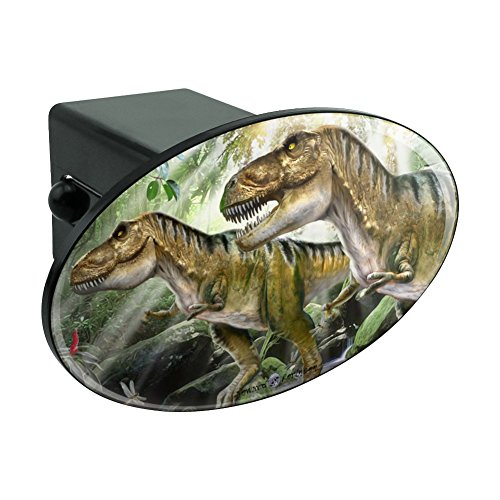 Graphics and More T-Rex Jurassic Double Trouble Oval Tow Hitch Cover Trailer Plug Insert 2
