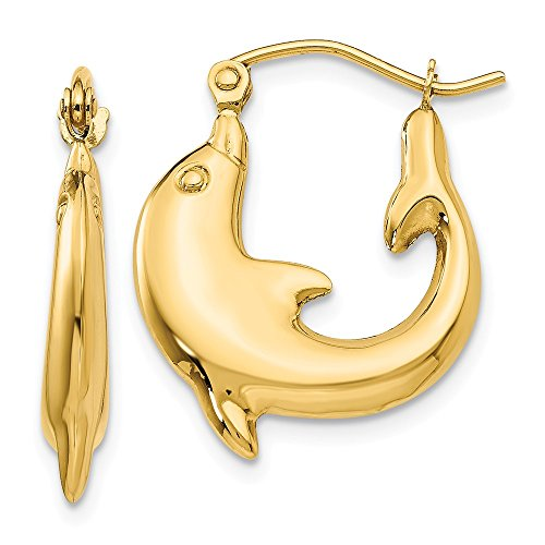 14k Yellow Gold Dolphin Hoop Earrings Ear Hoops Set Animal Sea Life Fine Jewelry Gifts For Women For Her