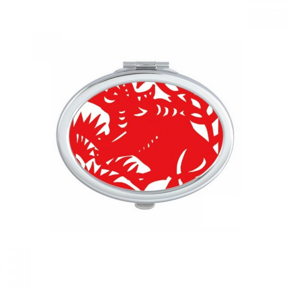 DIYthinker Paper-cut Ox Animal China Zodiac Oval Compact Makeup Mirror Portable Cute Hand Pocket Mirrors Gift