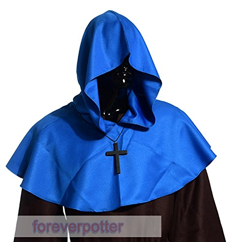 Vintage Medieval Cowl Hat Halloween Hooded Wicca Pagan Cosplay Accessory Unisex (Blue Color) -