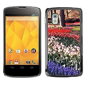 TopCaseStore / la caja del caucho duro de la cubierta de protección de la piel - Plant Nature Forrest Flower 16 - LG Google Nexus 4 E960