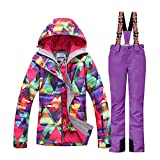 HOTIAN Women's High Windproof Technology Colorful Printed Snowboard Clothing Ski Jacket and Pant Set – Medium – Style 1
