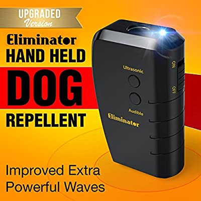 Eliminator Electronic Dog Repellent and Trainer with LED Flashlight / Stops Barking + Trains for Good Behavior / Ultrasonic Dog Deterrent [UPGRADED VERSION] by Eliminator