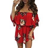 Paymenow Women Summer Off Shoulder Floral Wrap Ruffles Casual Loose Mini Dress (M, Red)