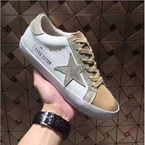 Estate ZHZNVX pelle in donna tonda Tacco da Marrone Oro piatto Nappa Comfort Primavera Gold Scarpe Bianco Punta Sneakers 0x1rXqw0