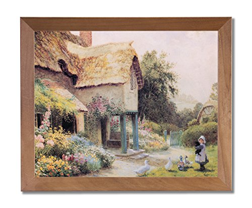 Country Cottage Tuscan Floral Landscape Wall Picture Honey Framed Art Print