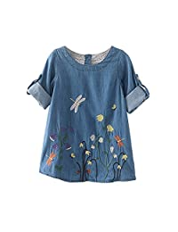 Mapletop Baby Girls Clothes Kids Flower Embroidery Denim Princess Dresses