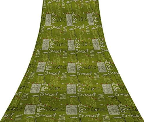 Svasti Heart & Love For Chocolate Text VintageSareeOlive Green Pure Silk Printed Refurbished Craft Fabric 5 Yard