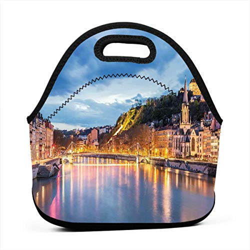 Portable Lunch Bag Carry Case Tote Container Bags,View Of Saone River In Lyon City At Evening France Blue Hour Historic Buildings,Unisex Outdoor Travel Fashionable Handbag Pouch for Kids