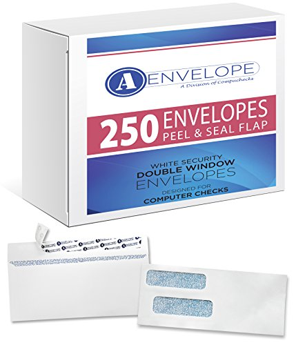 (250 Double Window Self Seal Security Check Envelopes - Compatible for QuickBooks)