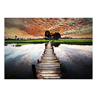 Old Wooden Bridge Leads into Beautiful Sunset Landscape Wall Mural, Made For You, Charming Visual