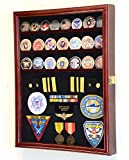 Challenge Coin / Medals / Pins / Badges / Ribbons / Insignia / Buttons Chips Combo Display Case Box Cabinet (Cherry Finish)