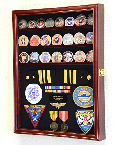 Challenge-Coin-Medals-Pins-Badges-Ribbons-Insignia-Buttons-Chips-Combo-Display-Case-Box-Cabinet-Cherry-Finish
