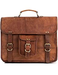 Vintage Leather Laptop Bag 15 Messenger Handmade Briefcase Crossbody Shoulder Bag