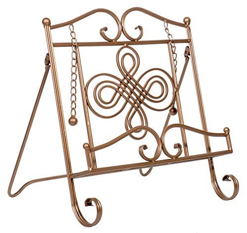 Tripar Swirl Design Copper Metal Cookbook Stand, Tablet, iPad, Catalog, Cookbook Recipe Holder, Portable, Adjustable, Free Standing (Cooks Catalog)