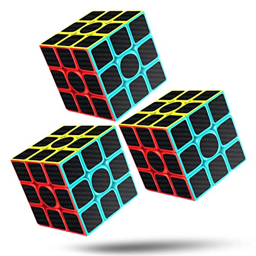 Rubiks Cube Speed Cube 3x3x3 Magic Carbon Fiber Sticker Smooth Rubix Cube, Enhanced Version Black - Pack of 4