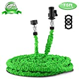 #4: Garden Hose 75ft, Expandable Water Hose with Triple Layer Latex Core, Stamped Aluminum Joints & Extra Strength Fabric – Expanding Hose for All Your Watering & Car Wash Use