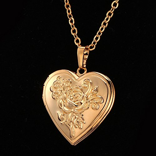 heart shaped photo locket pendant women fashion jewelry