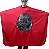 Neverland Beauty 160 x 145cm Salon Hairdressing Hair Cut Barber Gown Cape Cloth with Phone/Book Viewing Window Red