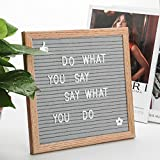 Gray Felt Letter Board 10x10 inches with Stand, Changeable Message Letter Board, Oak Frame, Canvas Bags and 340 Pieces of White Plastic Letters