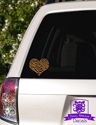 Zebra Print Heart Vinyl Car Decal - 10