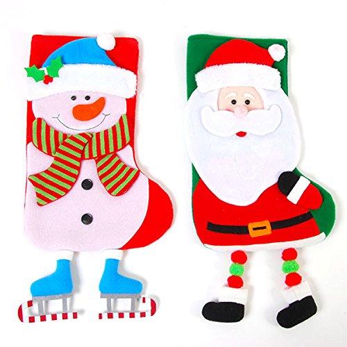 DDI 2127649 D Santa & Snowman Fleece Stockings with Legs - Case of 36