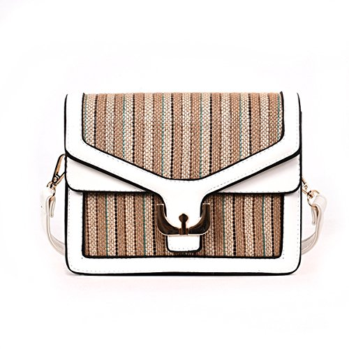 Olici Handbags, Tote Bag, Woven Straw Tide Shoulder Bag Single Color Shoulder Bag Korean Version Of Fashion Satchel Satchel Bag Small Square White Black