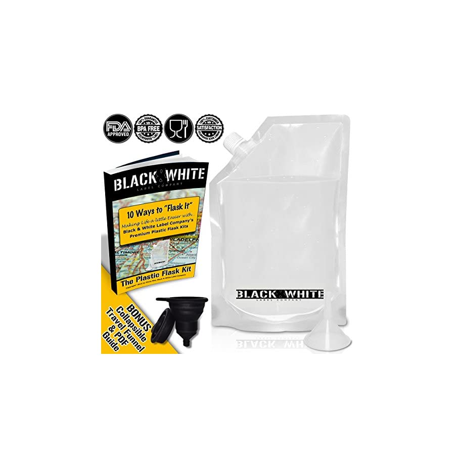 (3) Black & White Label Premium Plastic Flasks Liquor Rum Runner Cruise Kit Sneak Alcohol Drink Wine Pouch Bag Set Heavy Duty Reusable Concealable Flasks For Booze & Cocktails 3x32oz + Funnel