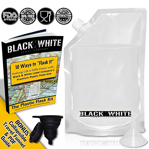 3-Black-White-Label-Premium-Plastic-Flasks-Liquor-Rum-Runner-Cruise-Kit-Sneak-Alcohol-Drink-Wine-Pouch-Bag-Set-Heavy-Duty-Reusable-Concealable-Flasks-For-Booze-Cocktails-3x32oz-Funnel