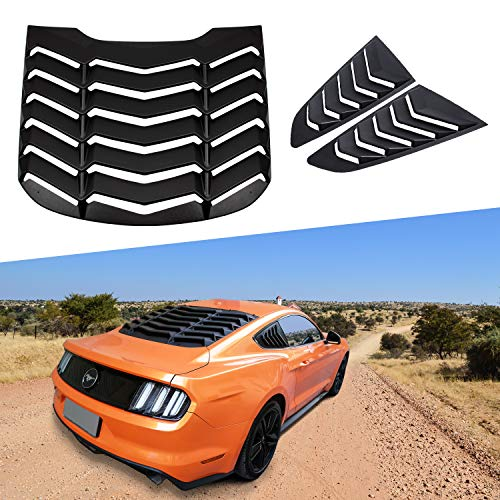 Mustang Vent Window - Rear and Side Window Louvers Matte Black ABS Window Visor Sun Shade Cover Vent in GT Lambo Style for Ford Mustang 2015 2016 2017 2018