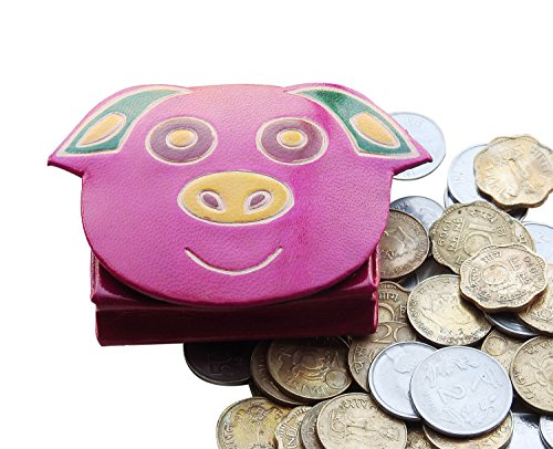 Leather Coin Pouch Money Wallet Owl Design Change Purse Case Holder (Piggy)