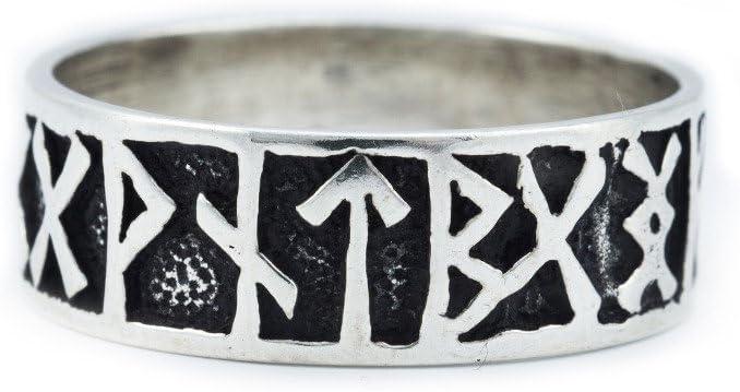 Battle-Merchant - Anillo vikingo de plata con diseño de vikingo medieval, diferentes tamaños, plata, Ringgröße 24/76