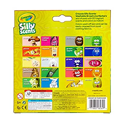 Crayola Silly Scents Sweet & Stinky Scented Markers, 20Count, Washable Markers, Gift for Kids, Age 3, 4, 5, 6: Toys & Games