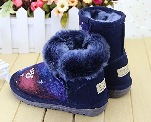 Ankle Shoes Dark Glow nbsp; Boots Print Galaxy the Hand in Fur Girls painted xqCwTzzS